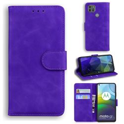 Retro Classic Skin Feel Leather Wallet Phone Case for Motorola Moto G9 Power - Purple