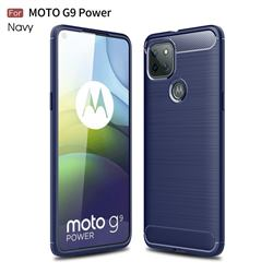 Luxury Carbon Fiber Brushed Wire Drawing Silicone TPU Back Cover for Motorola Moto G9 Power - Navy