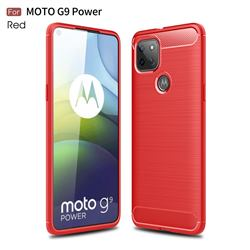 Luxury Carbon Fiber Brushed Wire Drawing Silicone TPU Back Cover for Motorola Moto G9 Power - Red
