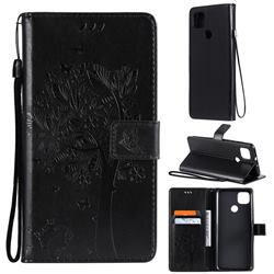 Embossing Butterfly Tree Leather Wallet Case for Motorola Moto G9 Power - Black