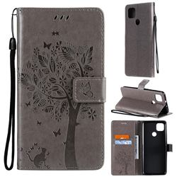 Embossing Butterfly Tree Leather Wallet Case for Motorola Moto G9 Power - Grey