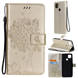 Embossing Butterfly Tree Leather Wallet Case for Motorola Moto G9 Power - Champagne