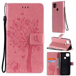 Embossing Butterfly Tree Leather Wallet Case for Motorola Moto G9 Power - Pink