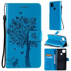 Embossing Butterfly Tree Leather Wallet Case for Motorola Moto G9 Power - Blue