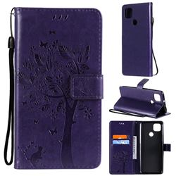 Embossing Butterfly Tree Leather Wallet Case for Motorola Moto G9 Power - Purple