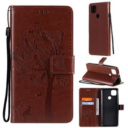 Embossing Butterfly Tree Leather Wallet Case for Motorola Moto G9 Power - Coffee