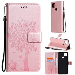 Embossing Butterfly Tree Leather Wallet Case for Motorola Moto G9 Power - Rose Pink