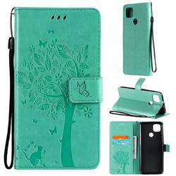 Embossing Butterfly Tree Leather Wallet Case for Motorola Moto G9 Power - Cyan