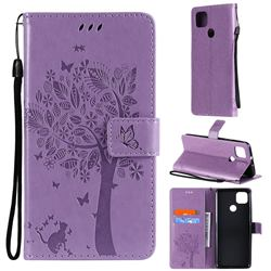 Embossing Butterfly Tree Leather Wallet Case for Motorola Moto G9 Power - Violet