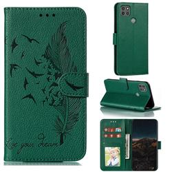 Intricate Embossing Lychee Feather Bird Leather Wallet Case for Motorola Moto G9 Power - Green