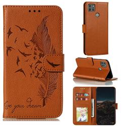 Intricate Embossing Lychee Feather Bird Leather Wallet Case for Motorola Moto G9 Power - Brown