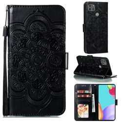 Intricate Embossing Datura Solar Leather Wallet Case for Motorola Moto G9 Power - Black