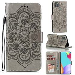 Intricate Embossing Datura Solar Leather Wallet Case for Motorola Moto G9 Power - Gray