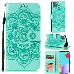 Intricate Embossing Datura Solar Leather Wallet Case for Motorola Moto G9 Power - Green