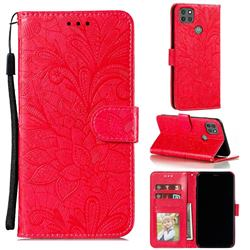 Intricate Embossing Lace Jasmine Flower Leather Wallet Case for Motorola Moto G9 Power - Red