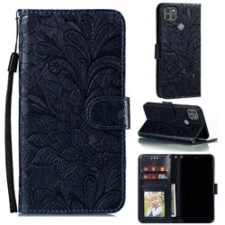 Intricate Embossing Lace Jasmine Flower Leather Wallet Case for Motorola Moto G9 Power - Dark Blue