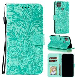 Intricate Embossing Lace Jasmine Flower Leather Wallet Case for Motorola Moto G9 Power - Green