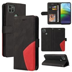 Luxury Two-color Stitching Leather Wallet Case Cover for Motorola Moto G9 Power - Black
