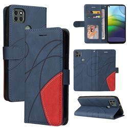 Luxury Two-color Stitching Leather Wallet Case Cover for Motorola Moto G9 Power - Blue