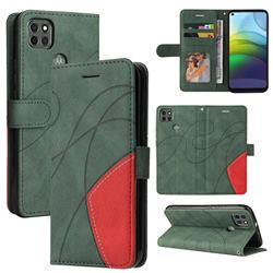 Luxury Two-color Stitching Leather Wallet Case Cover for Motorola Moto G9 Power - Green