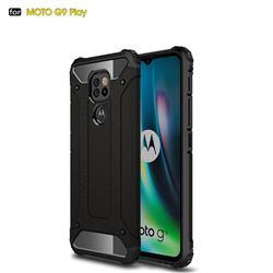 King Kong Armor Premium Shockproof Dual Layer Rugged Hard Cover for Motorola Moto G9 Play - Black Gold