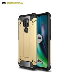 King Kong Armor Premium Shockproof Dual Layer Rugged Hard Cover for Motorola Moto G9 Play - Champagne Gold
