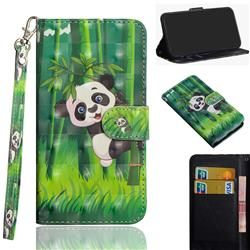 Climbing Bamboo Panda 3D Painted Leather Wallet Case for Motorola Moto G9 Play