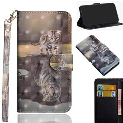 Tiger and Cat 3D Painted Leather Wallet Case for Motorola Moto G9 Play