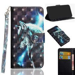 Snow Wolf 3D Painted Leather Wallet Case for Motorola Moto G9 Play
