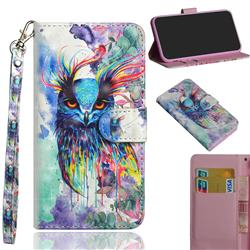 Watercolor Owl 3D Painted Leather Wallet Case for Motorola Moto G9 Play