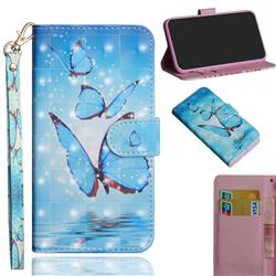 Blue Sea Butterflies 3D Painted Leather Wallet Case for Motorola Moto G9 Play