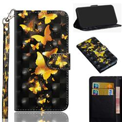 Golden Butterfly 3D Painted Leather Wallet Case for Motorola Moto G9 Play
