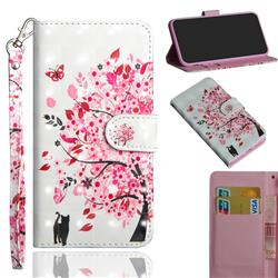Tree and Cat 3D Painted Leather Wallet Case for Motorola Moto G9 Play