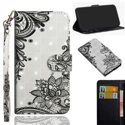 Black Lace Flower 3D Painted Leather Wallet Case for Motorola Moto G9 Play