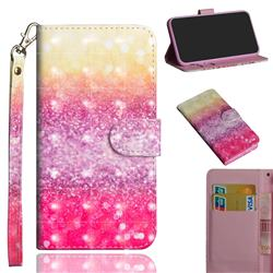 Gradient Rainbow 3D Painted Leather Wallet Case for Motorola Moto G9 Play