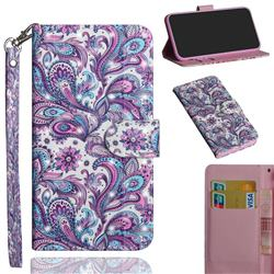 Swirl Flower 3D Painted Leather Wallet Case for Motorola Moto G9 Play