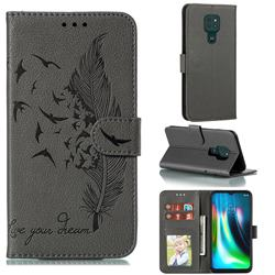 Intricate Embossing Lychee Feather Bird Leather Wallet Case for Motorola Moto G9 Play - Gray