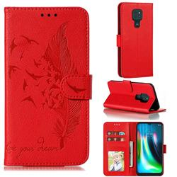 Intricate Embossing Lychee Feather Bird Leather Wallet Case for Motorola Moto G9 Play - Red