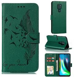 Intricate Embossing Lychee Feather Bird Leather Wallet Case for Motorola Moto G9 Play - Green