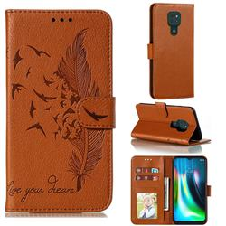 Intricate Embossing Lychee Feather Bird Leather Wallet Case for Motorola Moto G9 Play - Brown