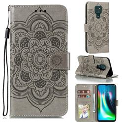 Intricate Embossing Datura Solar Leather Wallet Case for Motorola Moto G9 Play - Gray