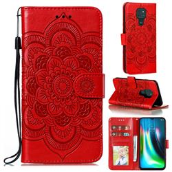 Intricate Embossing Datura Solar Leather Wallet Case for Motorola Moto G9 Play - Red