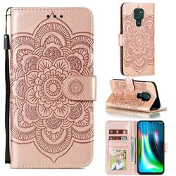 Intricate Embossing Datura Solar Leather Wallet Case for Motorola Moto G9 Play - Rose Gold