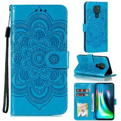 Intricate Embossing Datura Solar Leather Wallet Case for Motorola Moto G9 Play - Blue