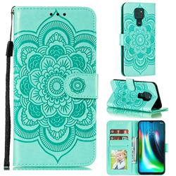 Intricate Embossing Datura Solar Leather Wallet Case for Motorola Moto G9 Play - Green