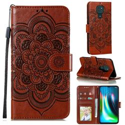 Intricate Embossing Datura Solar Leather Wallet Case for Motorola Moto G9 Play - Brown