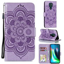 Intricate Embossing Datura Solar Leather Wallet Case for Motorola Moto G9 Play - Purple