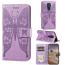 Intricate Embossing Rose Flower Butterfly Leather Wallet Case for Motorola Moto G9 Play - Purple