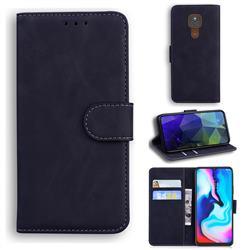 Retro Classic Skin Feel Leather Wallet Phone Case for Motorola Moto G9 Play - Black