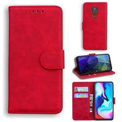 Retro Classic Skin Feel Leather Wallet Phone Case for Motorola Moto G9 Play - Red